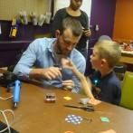 Soldering and Post-It Speakers at Make-a-tion